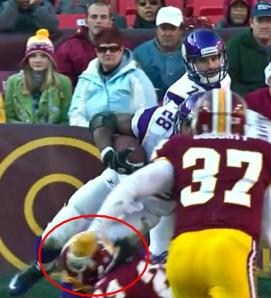 The hit that resulted in a torn ACL and MCL for Peterson.